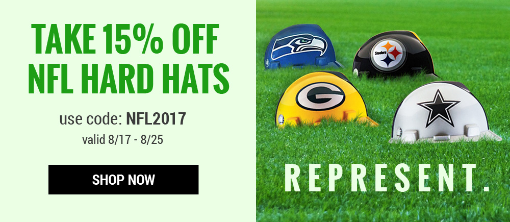Take 15% off NFL Hard Hats