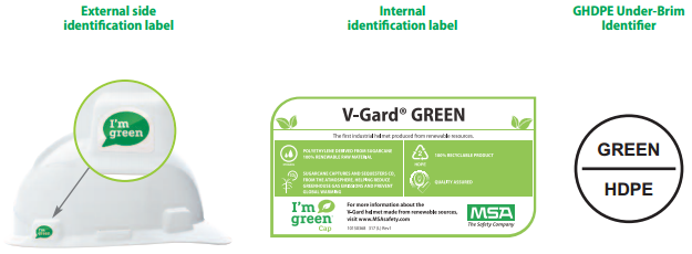 MSA V-Gard GREEN Helmet (100% Recyclable)