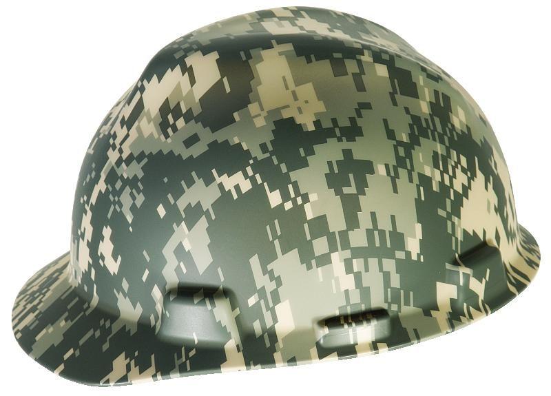 Camouflage MSA V-Gard Hard Hat w/ Ratchet Suspension