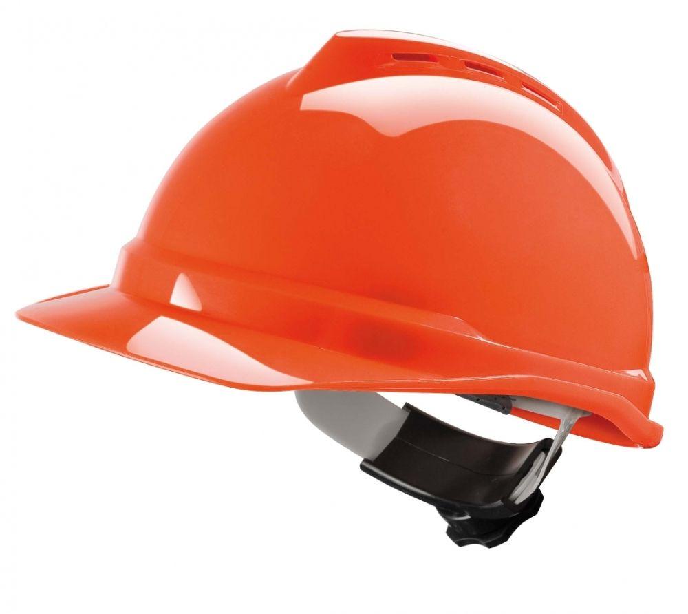 MSA V-Gard 500 Vented Hard Hat w/ 4 Point Ratchet Suspension