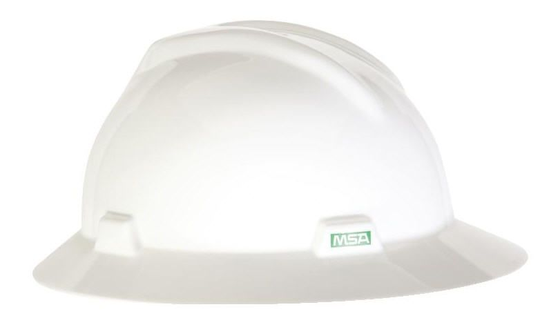 MSA Full Brim V-Gard Hard Hat w/ Ratchet Suspension